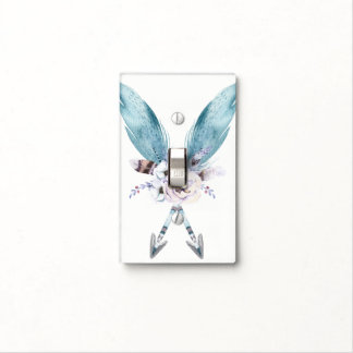 Blue Boho Bohemian Chic Arrows Feather Floral Light Switch Cover