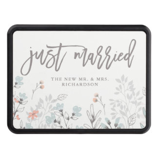 Blue Boho Botanical Wedding | Just Married Trailer Hitch Cover