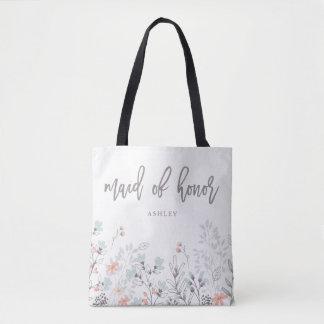 Blue Boho Botanical Wedding | Maid of Honor Tote Bag