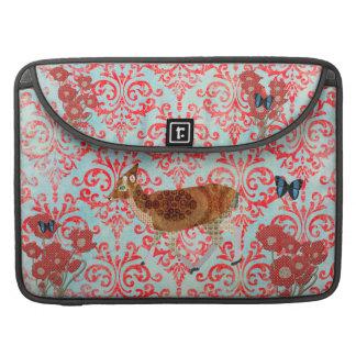 Blue Boho Butterflies Vintage Fawn  Damask Macbook Sleeve For MacBooks