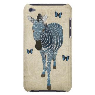Blue Boho Butterflies & Zebra Grunge Damask Case iPod Touch Cases