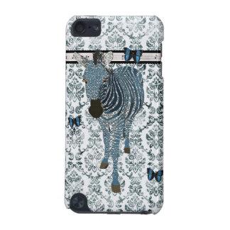 Blue Boho Butterflies & Zebra Grunge Damask Case iPod Touch (5th Generation) Covers