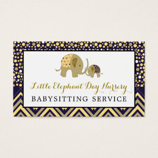 Blue Boho Elephant, Babysitting, Day Nursery Business Card