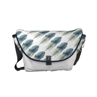 Blue Boho Feather Messenger Bags