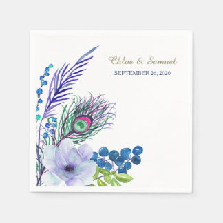 Blue Boho Floral Feather Wedding Napkin