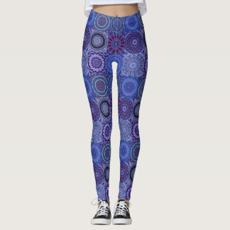 Blue Boho Quilt Leggings