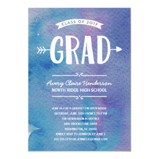 Blue Boho Watercolor | 2017 Graduation Party Card