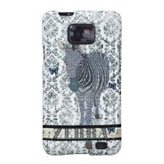 Blue Boho Zebra & Butterfly Grunge Damask Case Samsung Galaxy S2 Case