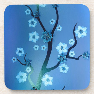 Blue Bokah Blossom Branches Drink Coaster