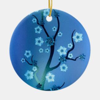 Blue Bokah Blossom Branches Round Ceramic Ornament