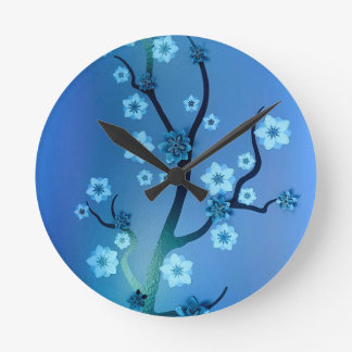 Blue Bokah Blossom Branches Wall Clocks