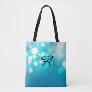 Blue Bokeh Customizable Monogram Tote Bag