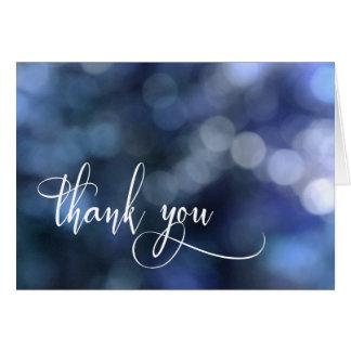 Blue Bokeh Light/Typography 32 Wedding Thank You Card