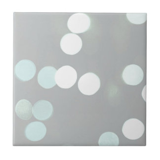 Blue Bokeh Lights Ceramic Tile