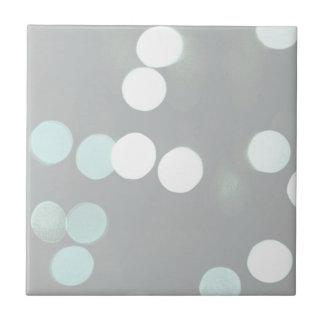 Blue Bokeh Lights Ceramic Tile