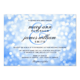 Blue Bokeh Lights Elegant Wedding 5x7 Paper Invitation Card