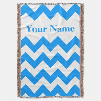 Blue Bold Chevron with custom name Throw