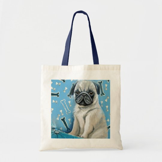 Blue Bone Pug Design Tote Bag