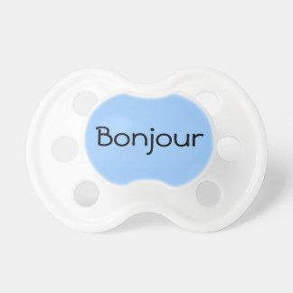 Blue Bonjour Hello in French Cute Baby Binkie