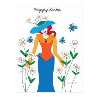 Blue Bonnet Easter Girl postcard