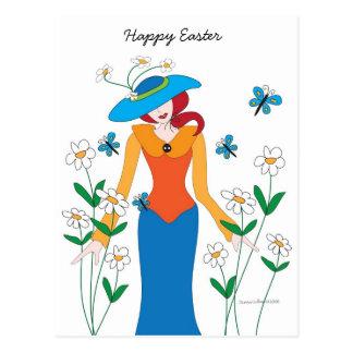 Blue Bonnet Easter Girl postcard