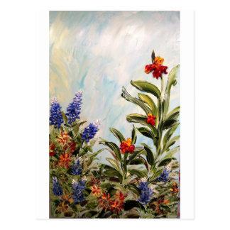 Blue Bonnets and Canna Lilies Postcard