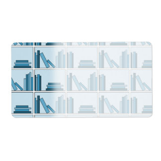 Blue Books on Shelf. Shipping Label