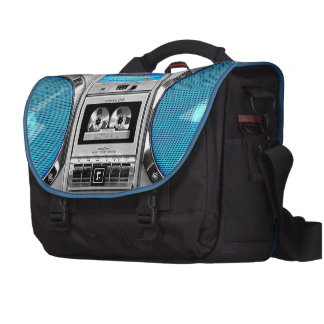 Blue boombox computer bag