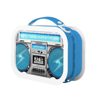 Blue boombox lunch boxes