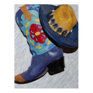 blue boot pencil postcard