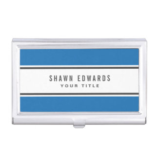 Blue border modern personalized business card holder