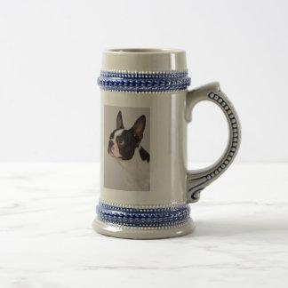Blue Boston Terrier Dog Stein Mug