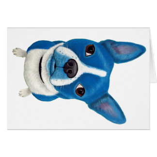 Blue Boston Terrier Greeting Card
