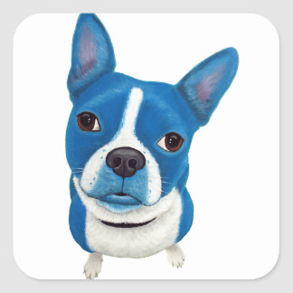 Blue Boston Terrier Square Sticker