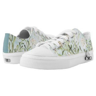 Blue Botanical Low-Top Sneakers