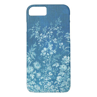 Blue Botanical Vintage Floral Print Custom iPhone 7 Case