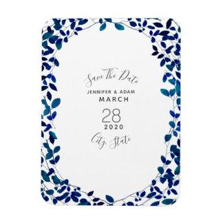 Blue Botanical Wedding Save The Date Magnet