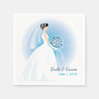 Blue Bouquet Wedding Paper Napkins