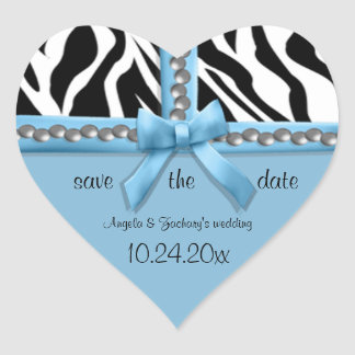Blue Bow And White Zebra Stripes With Pearls Heart Sticker