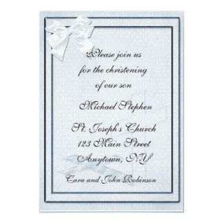 Blue Bow Christening Invitation