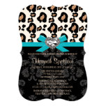 "Blue Bow Leopard Print Faux Bling Bridal Shower 5"" X 7"" Invitation Card"