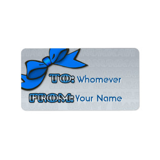 Blue Bow on Silver Hanukkah (To-From) Label