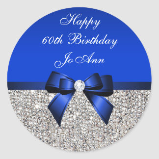 Blue Bow Silver Sequins Birthday Classic Round Sticker
