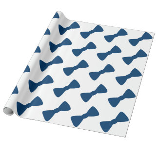 Blue Bow Tie Wrapping Paper