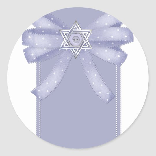 Blue Bow w/Star of David Hanukkah Stickers