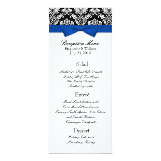 """Blue Bow with Damask Wedding Reception Menu 4"""" X 9.25"""" Invitation Card"""