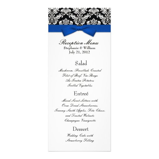 Blue Bow with Damask Wedding Reception Menu Custom Announcement