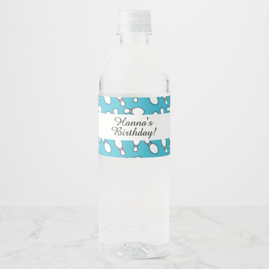 Blue Bowling Theme Birthday Water Bottle Label