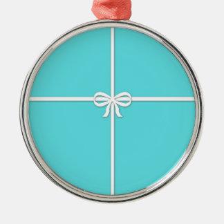 Blue box Silver-Colored round ornament