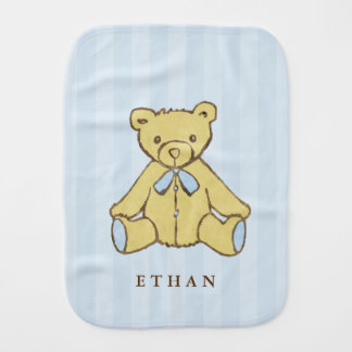 Blue Boy Bear Personalized Burp Cloth